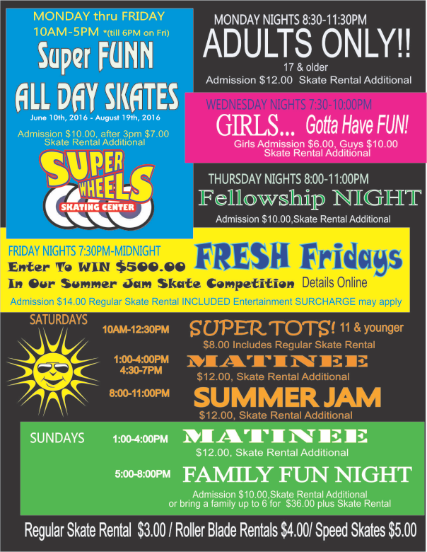 Super Wheels Skating Center Schedule - Overview